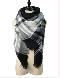 Fashion Black+white Grid Pattern Decorated Scarf