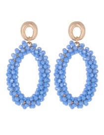 Fashion Light Blue Oval Shape Decorated Earrings