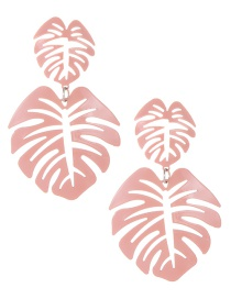 Fashion Pink Hollow Out Design Leaf Pattern Earrings