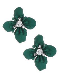 Fashion Green Flower Shape Decorated Earrings