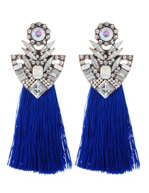 Fashion Sapphire Blue Geometric Shape Decorated Tassel Earrings