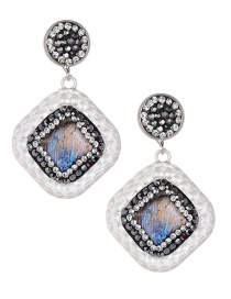 Fashion Silver Color Full Dioamd Decorated Square Shape Earrings