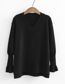 Fashion Black V Neckline Design Pure Color Sweater