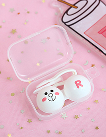 Fashion White Bear Pattren Decorated Contact Lens Box