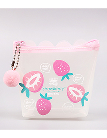 Fashion White+pink Strawberry Pattern Decorated Coin Purse