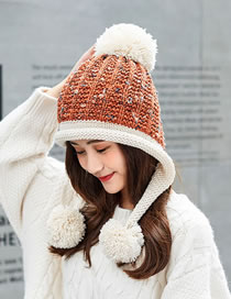 Fashion Brown Fuzzy Ball Decorated Hat
