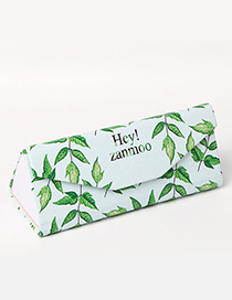 Fashion Green+white Leaf Pattern Decorated Glasses Case