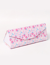 Fashion Pink Strawberry Pattern Decorated Glasses Case