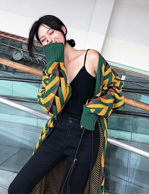 Fashion Green+yellow Stripe Pattern Decorated Coat