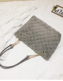 Fashion Gray Pure Color Decorated Bag