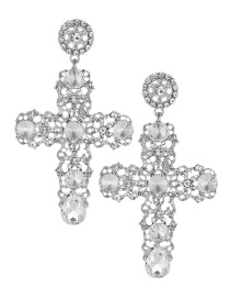Fashion Silver Color Hollow Out Design Cross Shape Earrings