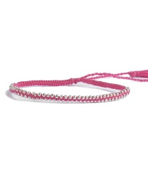 Bohemia Plum Red Tassel Decorated Pure Color Bracelet