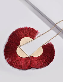 Fashion Red Sector Shape Decorated Necklace