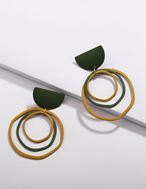 Fashion Green+yellow Geometric Shape Decorated Pure Color Earrings