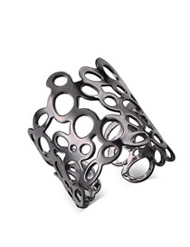 Fashion Black Hollow Out Design Pure Color Opening Ring