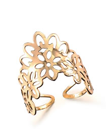 Fashion Gold Color Hollow Out Design Pure Color Opening Ring