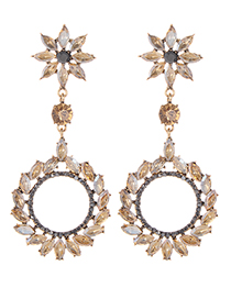 Fashion Champagne Full Diamond Decorated Round Earrings