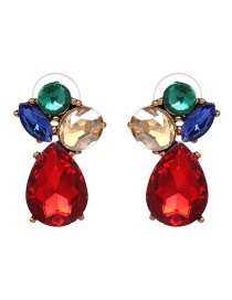 Fashion Multi-color Waterdrop Shape Decorated Earrings