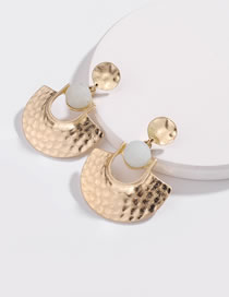 Fashion Gold Color+white Geometric Shape Decorated Earrings