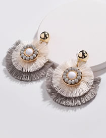 Fashion Beige+gray Round Shape Decorated Earrings