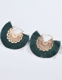 Fashion Dark Green Hollow Out Design Tassel Decorated Earrings
