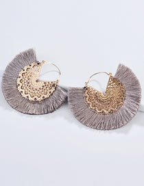 Fashion Gray Hollow Out Design Tassel Decorated Earrings