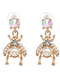 Fashion White Bee Shape Decorated Earrings