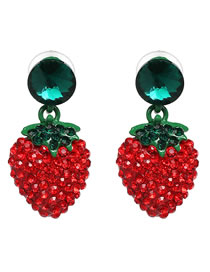 Fashion Red+green Strawberry Shape Decorated Earrings