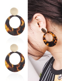 Fashion Black+yellow Hollow Out Deisgn Round Shape Earrings