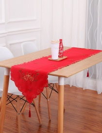 Fashion Red Flower Pattern Decorated Table Runner