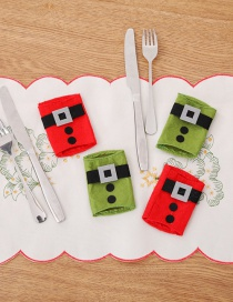 Fashion Red+green Belt Buckle Pattern Decorated Cutlery Cover(4pcs)