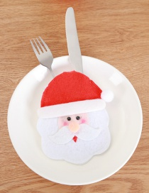 Fashion Red+white Santa Claus Pattern Decorated Cutlery Cover