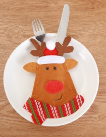 Fashion Brown Deer Pattern Decorated Cutlery Cover
