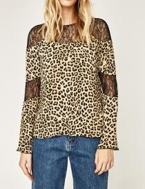 Fashion Leopard Leopard Pattern Decorated Blouse