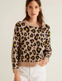 Fashion Leopard Leopard Pattern Decorated Sweater
