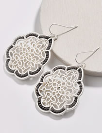 Fashion Silver Color Hollow Out Design Flower Pattern Earrings