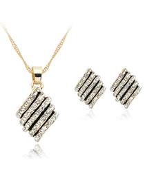 Fashion Gold Color Full Diamond Decorated Jewelry Set