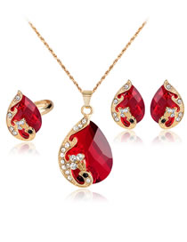 Fashion Red Waterdrop Shape Decorated Jewelry Set