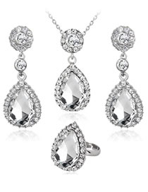 Fashion White Waterdrop Shape Decorated Jewelry Set