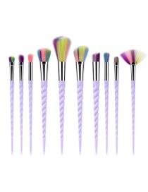 Fashion Multi-color Color-matching Decorated Makeup Brush(10pcs)