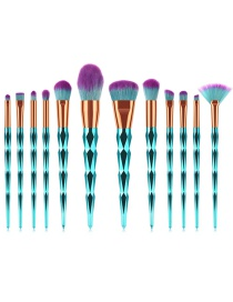Fashion Green Round Shape Decorated Makeup Brush(12pcs)