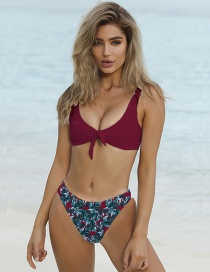 Sexy Claret Red Leaf Pattern Decorated Swimwear(2pcs)