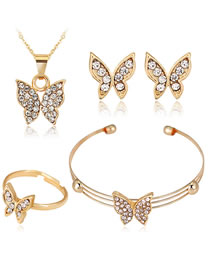 Fashion Gold Color Butterfly Shape Decorated Jewelry Set (5 Pcs )