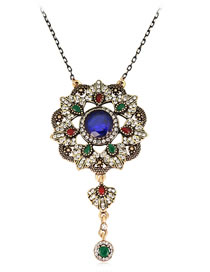 Fashion Multi-color Diamond Decorated Hollow Out Necklace
