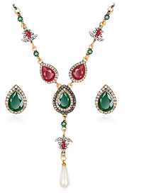 Fashion Red+green Water Drop Shape Decorated Jewelry Set (3 Pcs )
