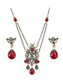 Fashion Red Water Drop Shape Decorated Jewelry Set (3 Pcs )