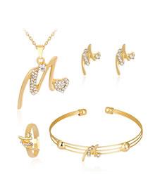 Fashion Gold Color Diamond Decorated Pure Color Jewelry Set (5 Pcs )