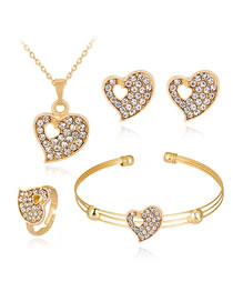 Fashion Gold Color Heart Shape Decorated Jewelry Set (5 Pcs )