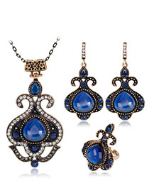 Fashion Sapphire Blue Diamond Decorated Jewelry Set ( 4 Pcs )