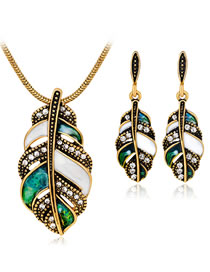 Fashion Green Leaf Shape Decorated Jewelry Set (3 Pcs )